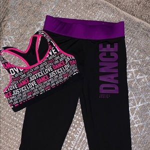 Justice Matching Sets - Justice Leggings (12) and Bra Top (10) Pre Owned